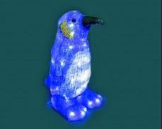 Светеща фигура СИН ПИНГВИН от акрил и LED лампички, СТУДЕНО БЯЛ 34 см.