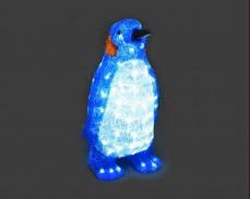 Светеща фигура СИН ПИНГВИН от акрил и LED лампички, СТУДЕНО БЯЛ 44 см.