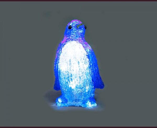 Светеща фигура СИН ПИНГВИН от акрил и LED, на батерии СТУДЕНО БЯЛ 20 см.