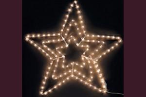 Светща звезда от маркуч с ТОПЛО БЕЛИ led лампи 55см