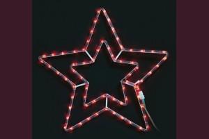 Светща звезда от маркуч с ЧЕРВЕНИ led лампи 55см