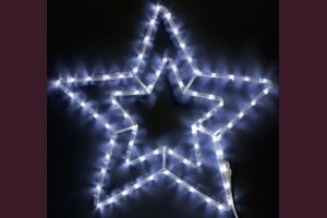 Светща звезда от маркуч с БЕЛИ led лампи 55см