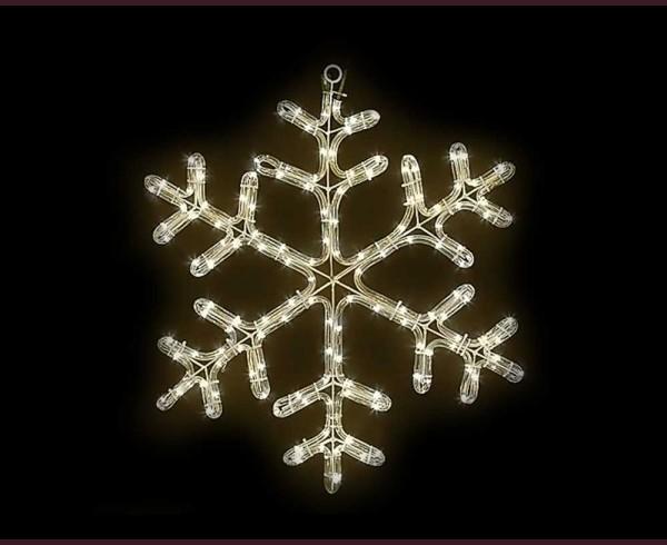 Светеща фигура СНЕЖИНКА от LED маркуч ТОПЛО БЯЛ 48х48 см