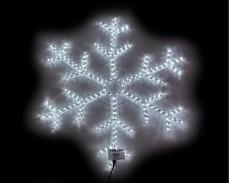 Светеща фигура СНЕЖИНКА от LED маркуч БЯЛ  90х90 см