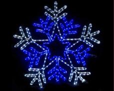 Светеща фигура СНЕЖИНКА-ЗВЕЗДА от LED маркуч СТУДЕНО БЯЛ и СИН 88х88  см