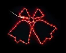 Светеща фигура ДВЕ КАМБАНИ от LED маркуч ЧЕРВЕН 65х47 см