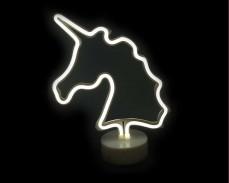 Светеща фигура ЕДНОРОГ LED неон БЯЛ 30 см