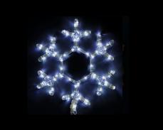 Светеща фигура СНЕЖИНКА от LED маркуч БЯЛ  35х40 см