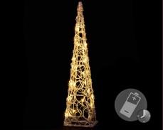 Светеща Пирамида 60см, 30 ТОПЛО БЕЛИ led лампи с батерии и таймер
