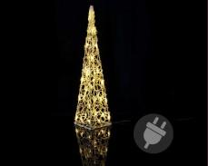 Светеща Пирамида 60см, 30 ТОПЛО БЕЛИ led лампи с трансформатор