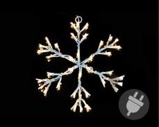Светеща Снежинка 30см, 36 ТОПЛО БЕЛИ led лампи с трансформатор