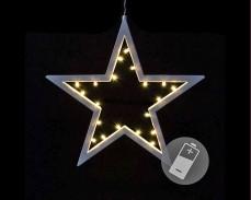 """Светеща """"Коледна звезда"""" 20 ТОПЛО БЕЛИ led с батерии"""