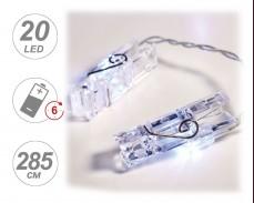 Гирлянд СВЕТЕЩИ ЩИПКИ 20 СТУДЕНО БЕЛИ LED с батерии 2,85м