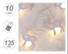 Гирлянд БЕЛИ ЕЛЕНИ 10 ТОПЛО БЕЛИ LED с батерии 1,35м