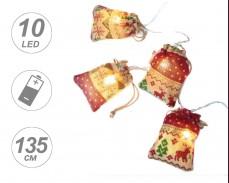 Гирлянд КОЛЕДНИ ТОРБИЧКИ 10 ТОПЛО БЕЛИ LED с батерии 1,35м