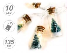 Гирлянд ЗЕЛЕНИ ЕЛХИ в ШИШЕ 10 ТОПЛО БЕЛИ LED с батерии 1,35м
