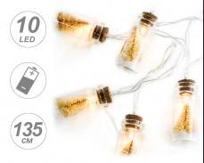 Гирлянд ЖЪЛТИ ЕЛХИ в ШИШЕ 10 ТОПЛО БЕЛИ LED с батерии 1,35м