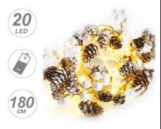 Гирлянд ШИШАРКИ, БЕЛИ ЗВЕЗДИ и ТОПЧЕТА с 20 ТОПЛО БЕЛИ microLED с батерии 1,8м