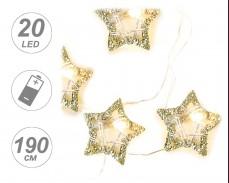 Гирлянд МЕТАЛНИ ЗВЕЗДИ с 20 ТОПЛО БЕЛИ microLED с батерии 1,9м