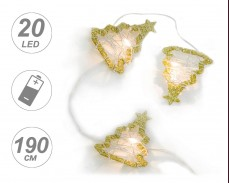 Гирлянд МЕТАЛНИ ЕЛХИ с 20 ТОПЛО БЕЛИ microLED с батерии 1,9м