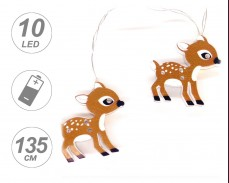 Гирлянд МАЛКИ СЪРНИ 10 ТОПЛО БЕЛИ LED с батерии 1,35м