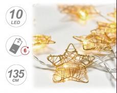 Гирлянд ЗВЕЗДА ЗЛАТО 10 ТОПЛО БЕЛИ LED с батерии и таймер 1,35м