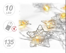 Гирлянд ЗВЕЗДА СРЕБРО 10 ТОПЛО БЕЛИ LED с батерии и таймер 1,35м
