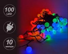 """Гирлянд """"светещи топчета""""  ЧЕРВЕНИ, ЗЕЛЕНИ, ЖЪЛТИ и СИНИ 100 LED лампички с трансформатор 10 метра"""