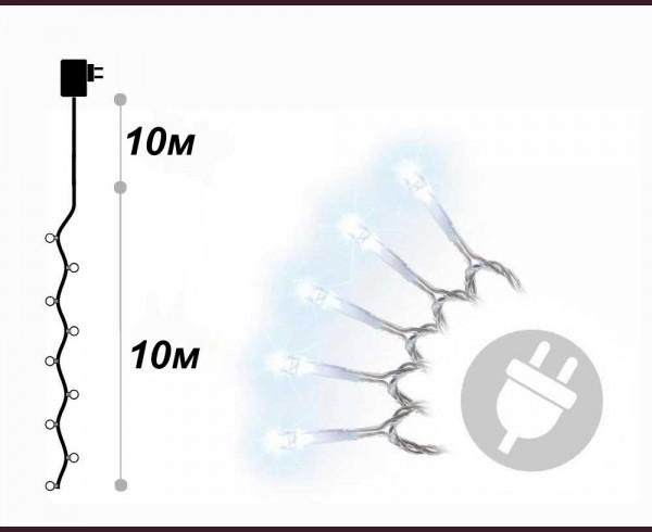 Светещ гирлянд 100 БЕЛИ led лампи с траф 10м