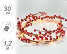 микро LED гирлянд ЧЕРВЕН ИМЕЛ 30 ТОПЛО БЕЛИ лампи 1,2м на батерии