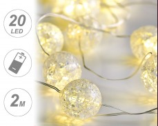 микро LED гирлянд ТОПКИ 20 ТОПЛО БЕЛИ лампи 2м на батерии