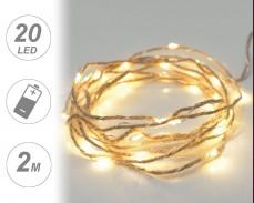 микро LED гирлянд  ВЪЖЕ 20 ТОПЛО БЕЛИ лампи 2м на батерии