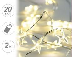 микро LED гирлянд ЗВЕДИ 20 ТОПЛО БЕЛИ лампи 2м на батерии