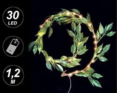 микро LED гирлянд ЗЕЛЕНИ ЛИСТА 30 ТОПЛО БЕЛИ лампи 1,2м на батерии