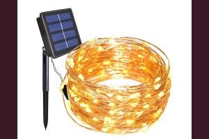 микро LED гирлянд 100 ТОПЛО БЕЛИ лампи 10м. соларни
