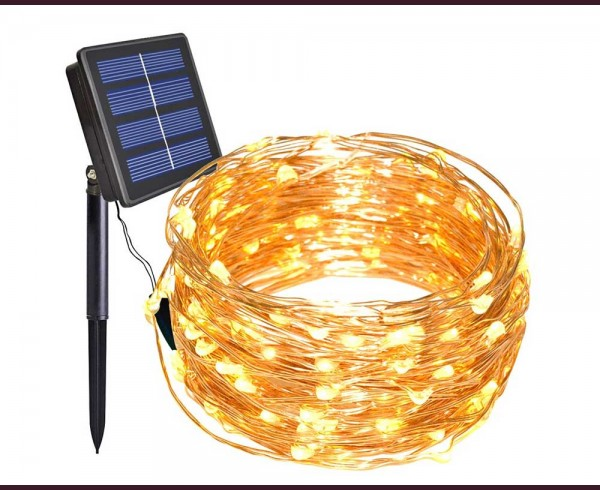 микро LED соларни лампи ТОПЛО БЕЛИ 10м