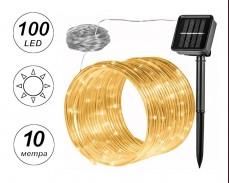 Светещ соларен маркуч с микро LED 100 ТОПЛО БЕЛИ лампички 10м