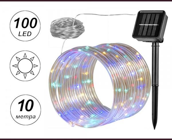 Светещ соларен маркуч с микро LED 100 МНОГОЦВЕТНИ лампички 10м