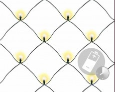 Светеща мрежа 100 ТОПЛО БЕЛИ led лампи с батерии и таймер 1,5 х 1,5м