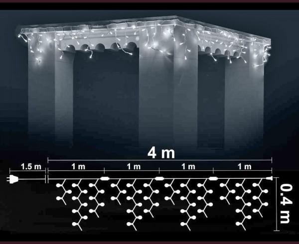 Висящи 100 + 20 мигащи БЕЛИ led лампи 4м влагоустойчиви с БЯЛ кабел