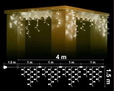 Висящи 264 + 40 мигащи ТОПЛО БЕЛИ led лампи 4м влагоустойчиви с бял кабел