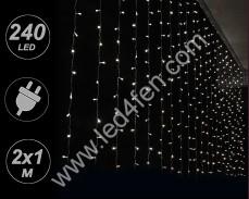 Светеща завеса 240 СТУДЕНО БЕЛИ LED 2х1м с прозрачен кабел и трансформатор