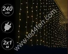 Светеща завеса 240 ТОПЛО БЕЛИ LED 2х1м с прозрачен кабел и трансформатор
