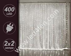 Светеща завеса 400 СТУДЕНО БЕЛИ LED 2х2м с прозрачен кабел и 8 програми