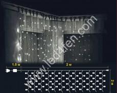 Светеща завеса 400 БЕЛИ led 2х2м черен кабел