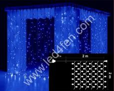 Светеща завеса 400  СИНИ led 2х2м черен кабел