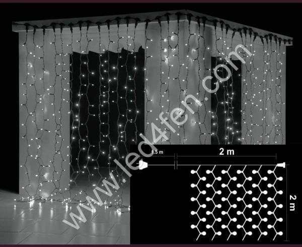 Светеща завеса 400 БЕЛИ led лампи 2х2м водоустойчива