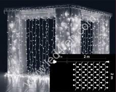 Светеща завеса 400 БЕЛИ led 2х2м бял кабел