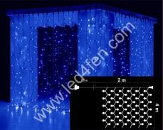 Светеща завеса 800 СИНИ led 2х4м черен кабел