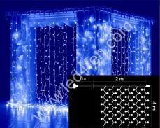 Светеща завеса 800  СИНИ led 2х4м бял кабел